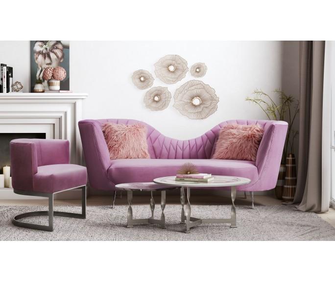 Eva Blush Velvet Sofa Ghazel Design